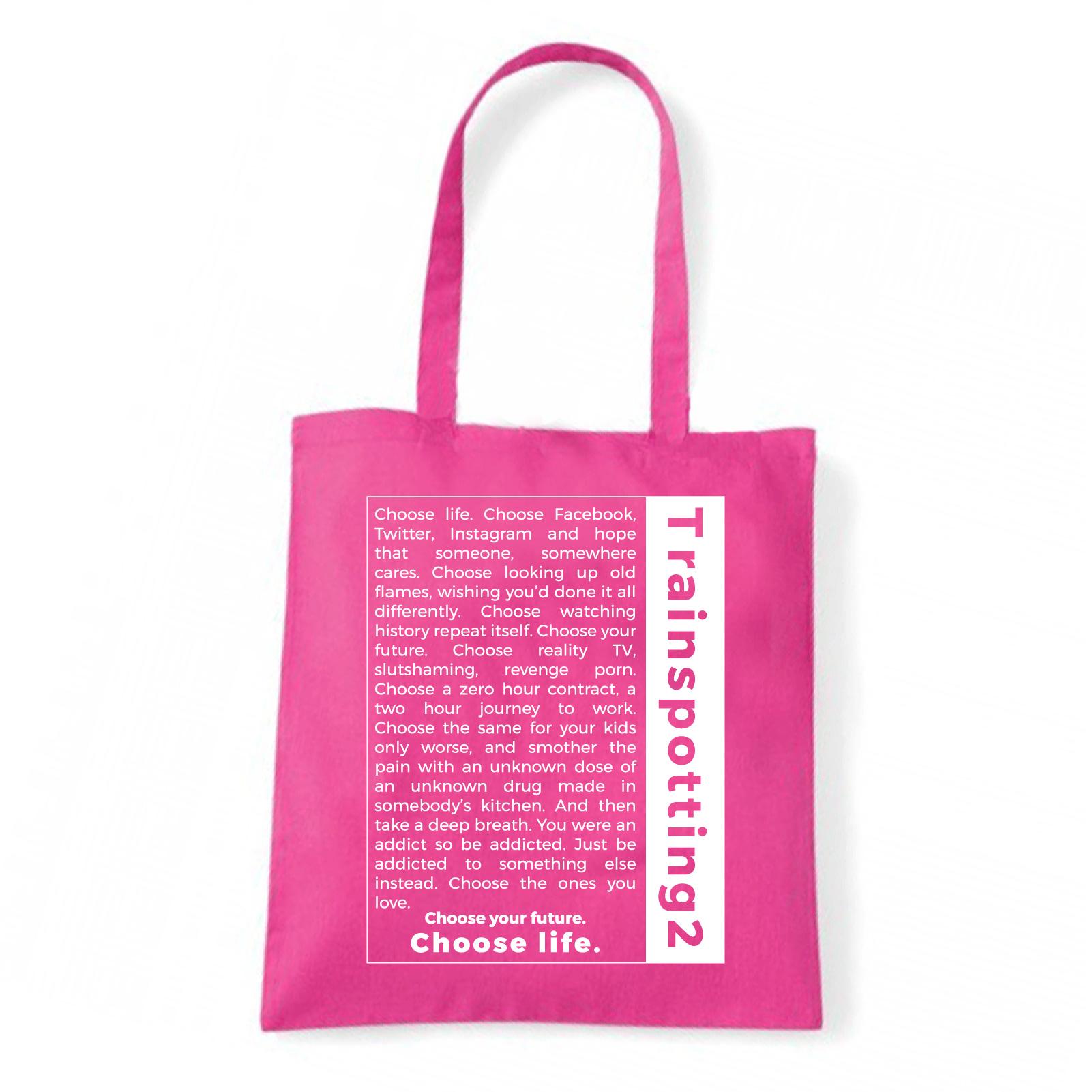 Art T-shirt, Borsa T2 Choose Life, Fucsia, Shopper, Mare Fucsia-  - ebay.it